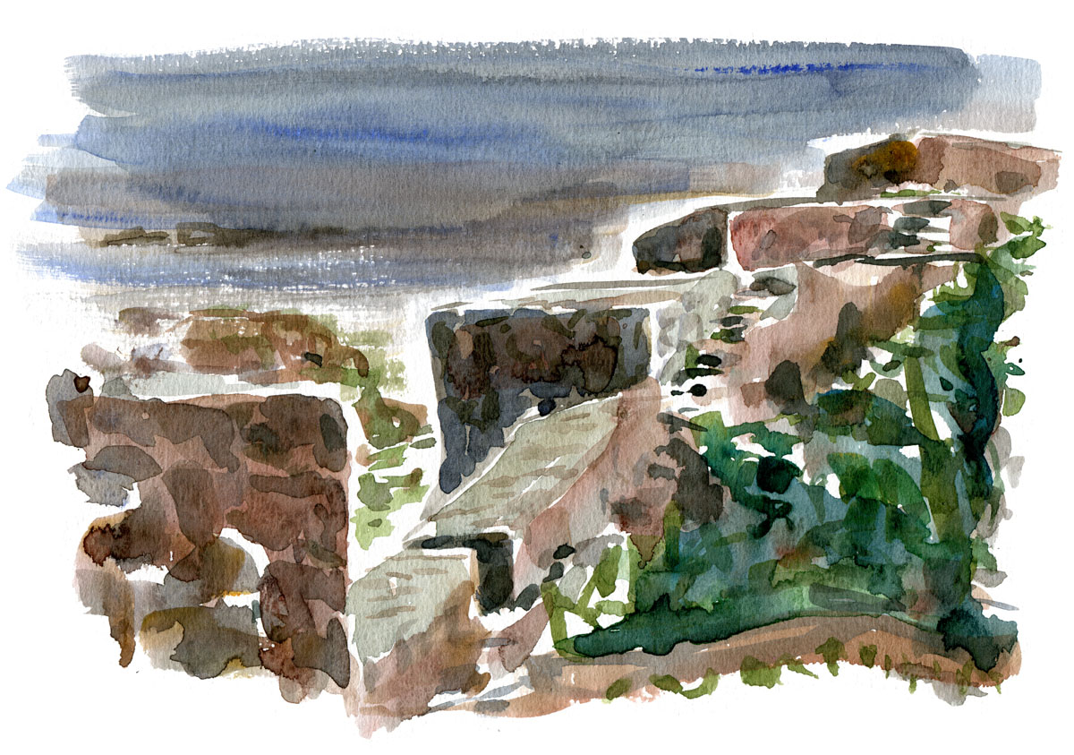 Watercolor of stone walls on Christiansø