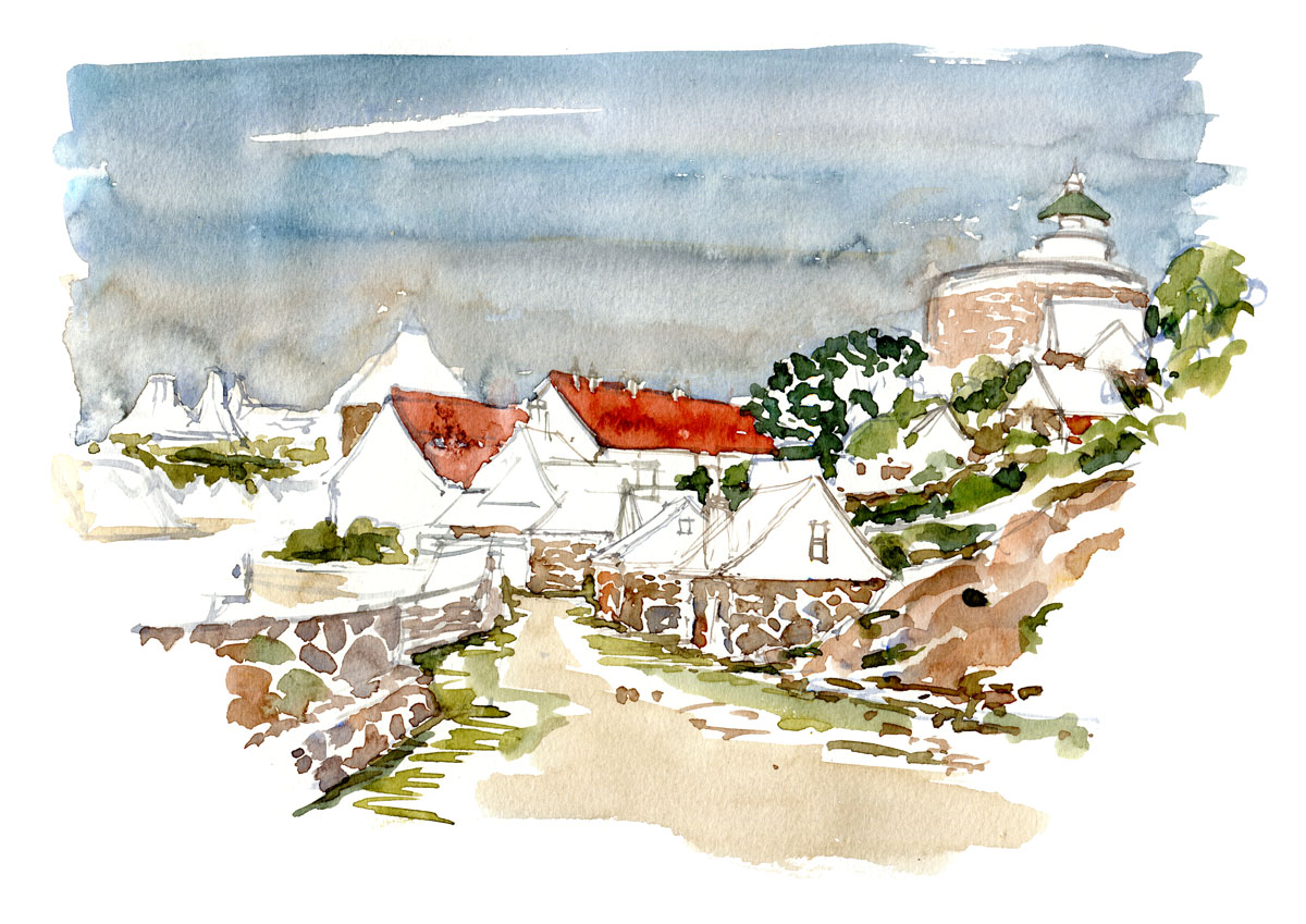 Watercolour of Ertholmene, naval fortress, Christiansø and Frederiksø
