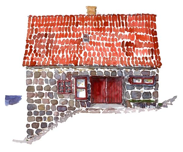 Watercolor of a small house, used as a kiosk and snackbar, Ertholmene, Christiansoe