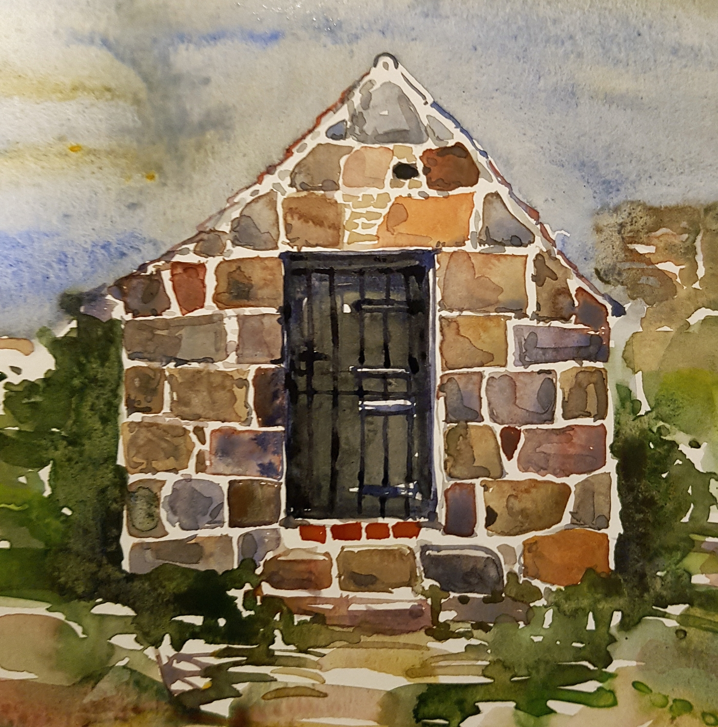 Watercolor by Frits Ahlefeldt, small granite cottage